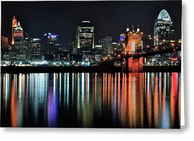 Cincinnati Lights The Ohio River Greeting Card