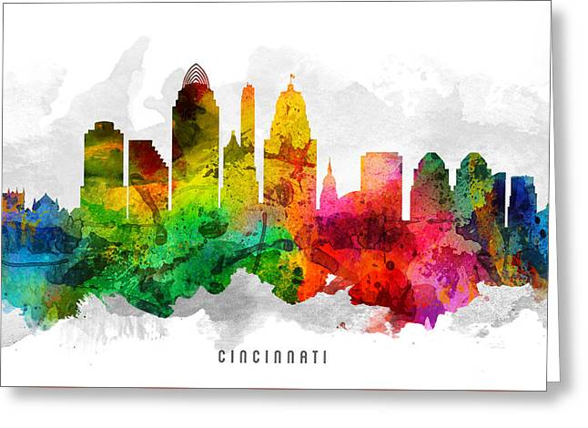 Cincinnati Ohio Cityscape 12 Greeting Card by Aged Pixel