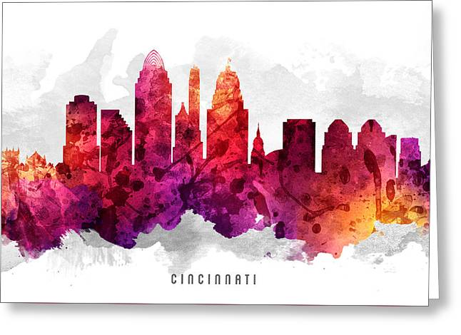 Cincinnati Ohio Cityscape 14 Greeting Card by Aged Pixel