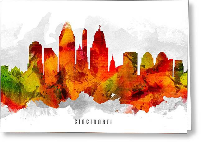 Cincinnati Ohio Cityscape 15 Greeting Card by Aged Pixel