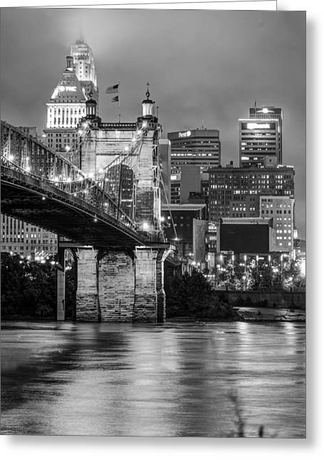 Cincinnati Ohio Skyline And Bridge - Black And White Greeting Card
