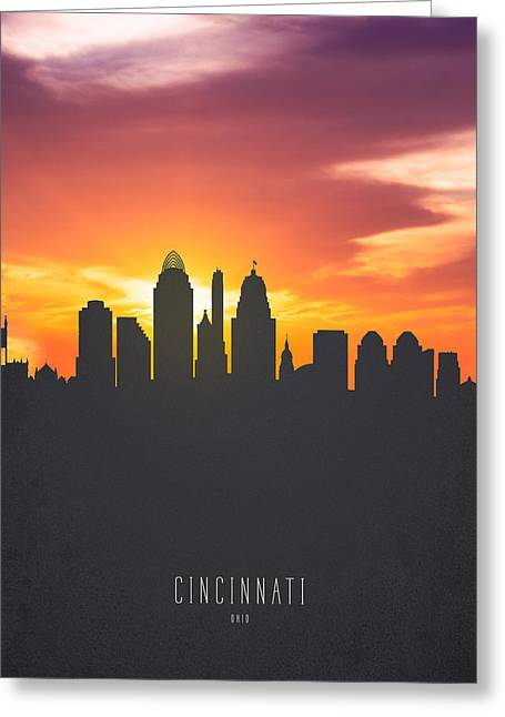 Cincinnati Ohio Sunset Skyline 01 Greeting Card by Aged Pixel