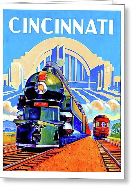 Cincinnati Railway, Trains, Travel Poster Greeting Card