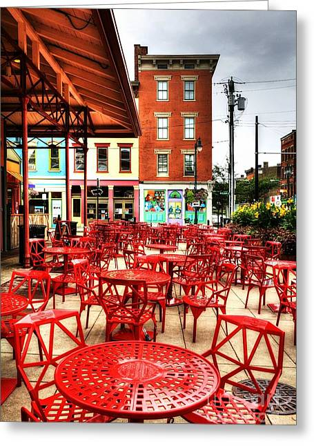 Cincinnati Red At Findlay Market Greeting Card by Mel Steinhauer