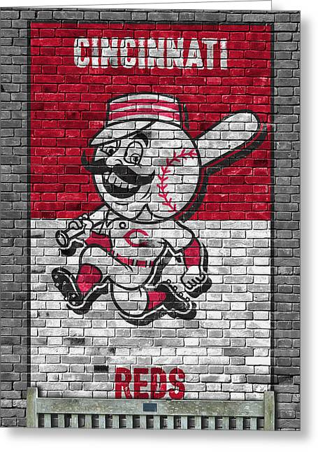 Cincinnati Reds Brick Wall Greeting Card by Joe Hamilton