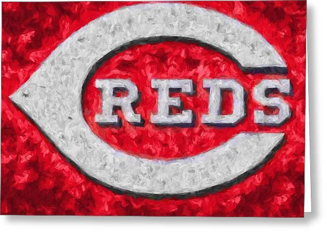 Cincinnati Reds On Canvas Greeting Card by Dan Sproul