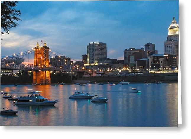 Cincinnati River Front Greeting Card by John Mullins
