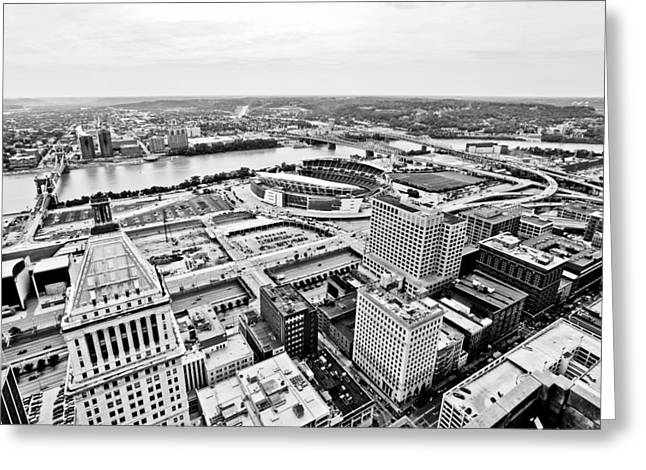 Ohio River Photographs Greeting Cards - Cincinnati Skyline Aerial Greeting Card by Paul Velgos