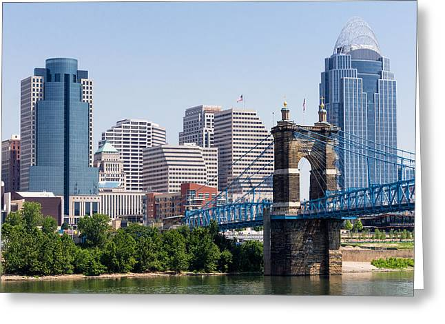 Famous Bridge Greeting Cards - Cincinnati Skyline and John Roebling Bridge Greeting Card by Paul Velgos