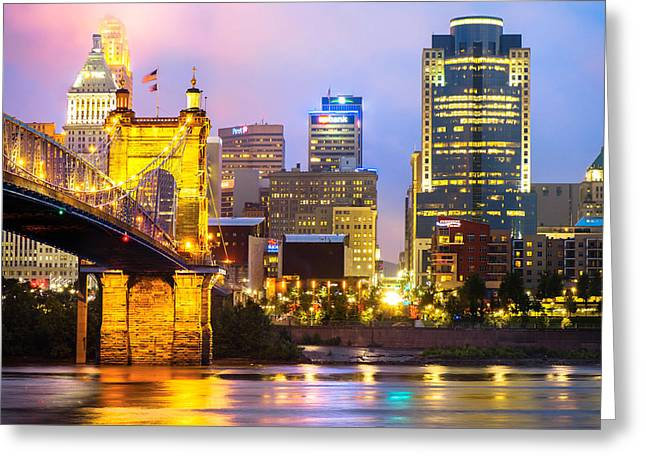 Cincinnati Skyline And The John Roebling Suspension Bridge Greeting Card