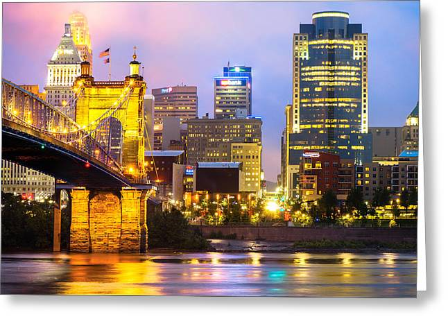 Cincinnati Skyline And The John Roebling Suspension Bridge Greeting Card
