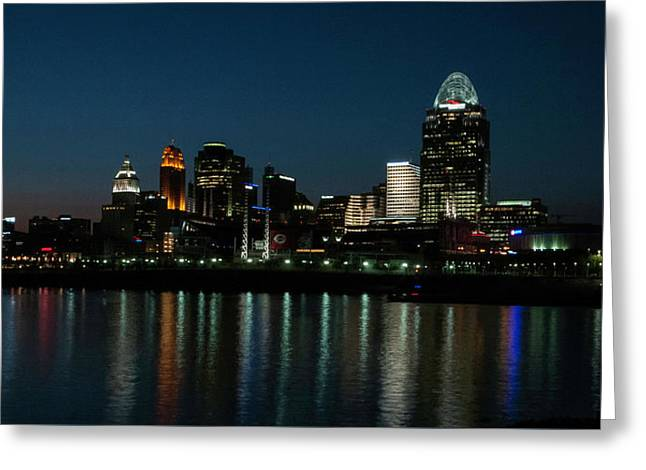 Cincinnati Skyline At Night No 2 Greeting Card by Phyllis Taylor