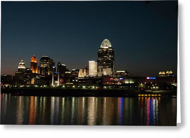 Cincinnati Skyline At Night Greeting Card by Phyllis Taylor