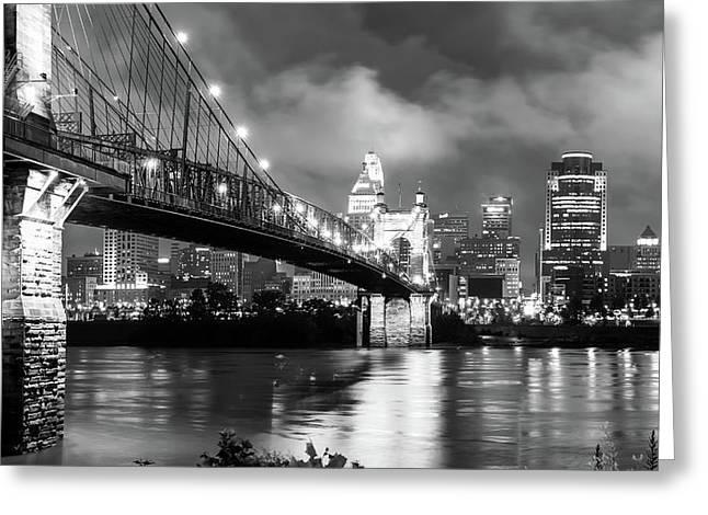 Cincinnati Skyline At Twilight - Black And White Greeting Card