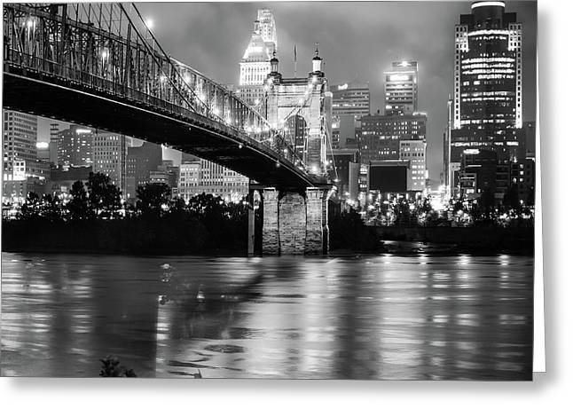 Cincinnati Skyline Black And White 1x1 Greeting Card by Gregory Ballos