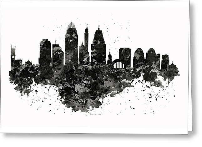 Greeting Card featuring the mixed media Cincinnati Skyline Black And White by Marian Voicu
