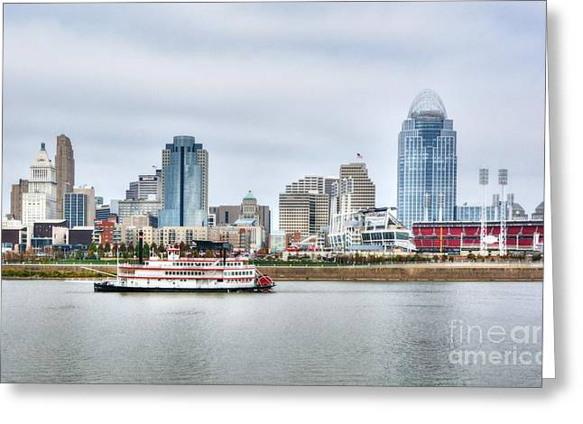 Cincinnati Skyline Cruising Greeting Card by Mel Steinhauer