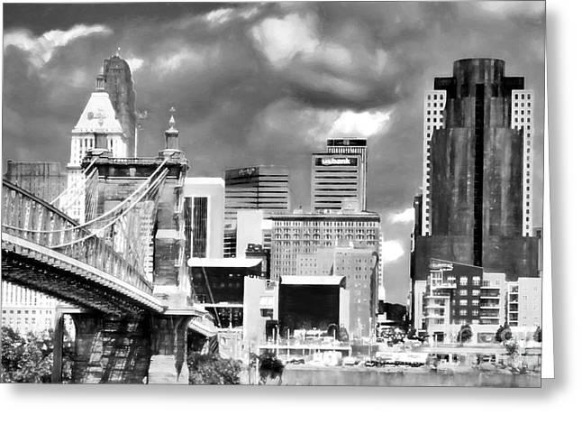 Cincinnati Skyline In Black And White Greeting Card