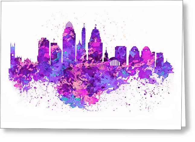 Cincinnati Skyline Greeting Card by Marian Voicu