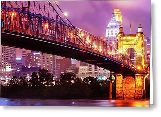 Cincinnati Skyline Panorama - Ohio - Usa Greeting Card by Gregory Ballos