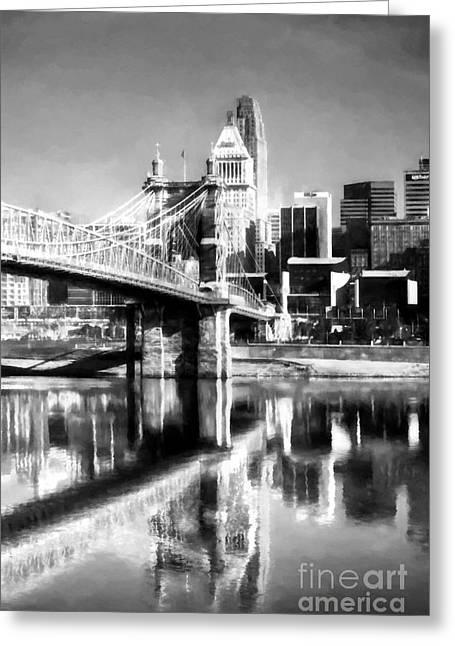 Cincinnati Skyline Reflections Bw Greeting Card by Mel Steinhauer