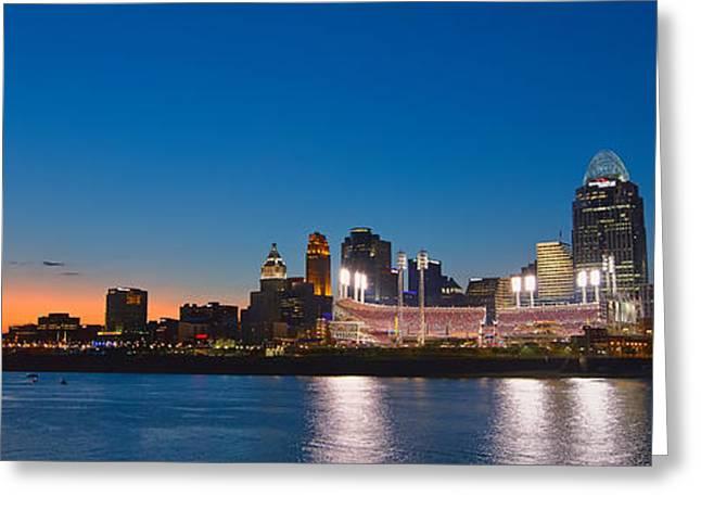 Cincinnati Skyline Sunset Greeting Card