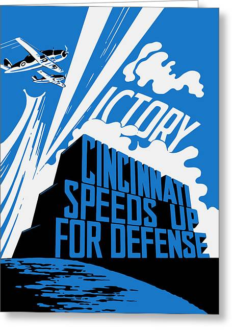Cincinnati Speeds Up For Defense - Ww2 Greeting Card