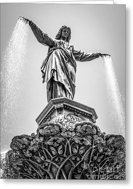 Cincinnati Tyler Davidson Fountain Black And White Picture Greeting Card