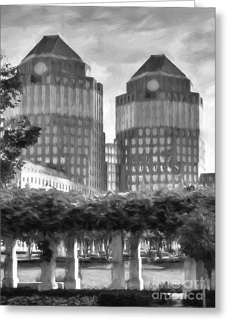 Cincinnati's Twin Towers Black And White Greeting Card