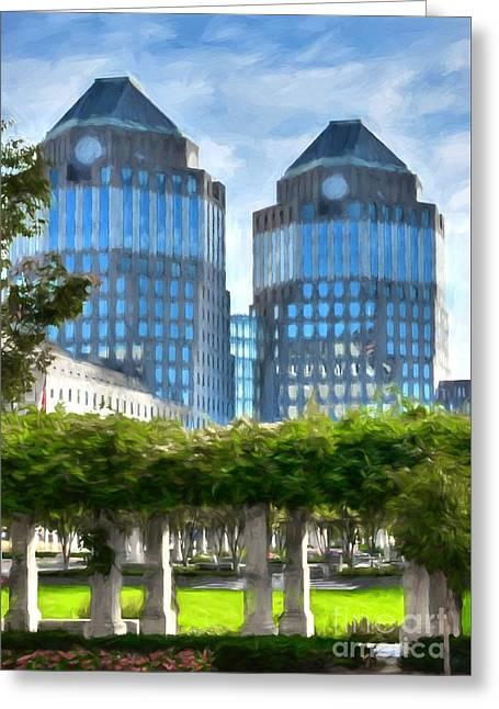Cincinnati's Twin Towers Greeting Card