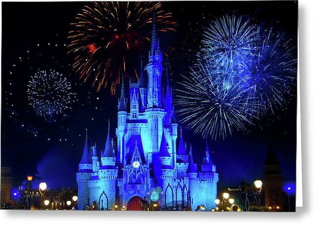 Cinderella Castle Fireworks Greeting Card by Mark Andrew Thomas