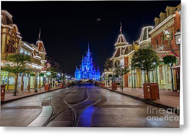 Cinderella Castle Glow Over Main Street Usa Greeting Card
