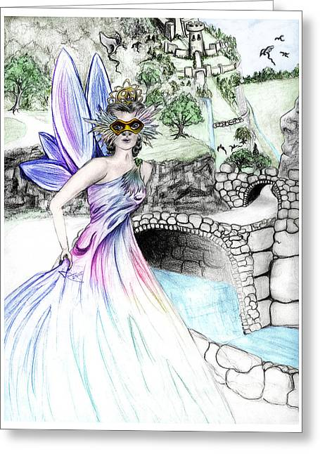 Fairytales Of Dragon Pass Castle, Costume Balls And Cinderella Greeting Card by Janice Moore
