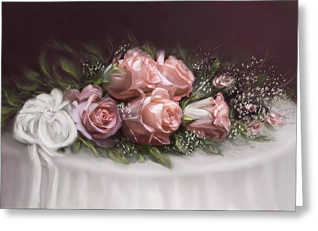 Greeting Card featuring the painting Spray Of  Roses by Bonnie Willis