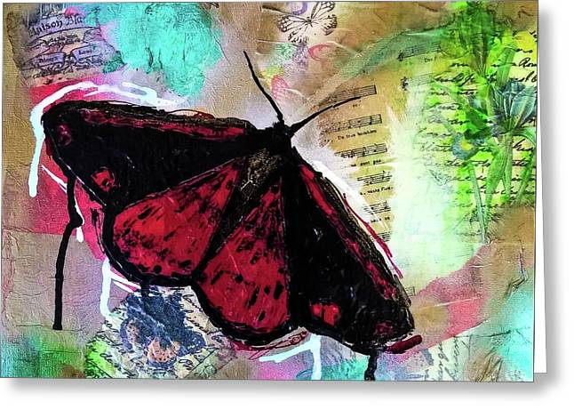 Greeting Card featuring the mixed media Cinnabar Butterly by Lisa McKinney