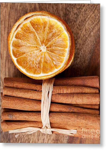 Cinnamon And Orange Greeting Card by Nailia Schwarz