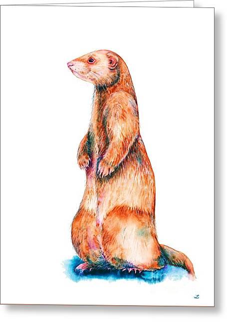 Greeting Card featuring the painting Cinnamon Ferret by Zaira Dzhaubaeva