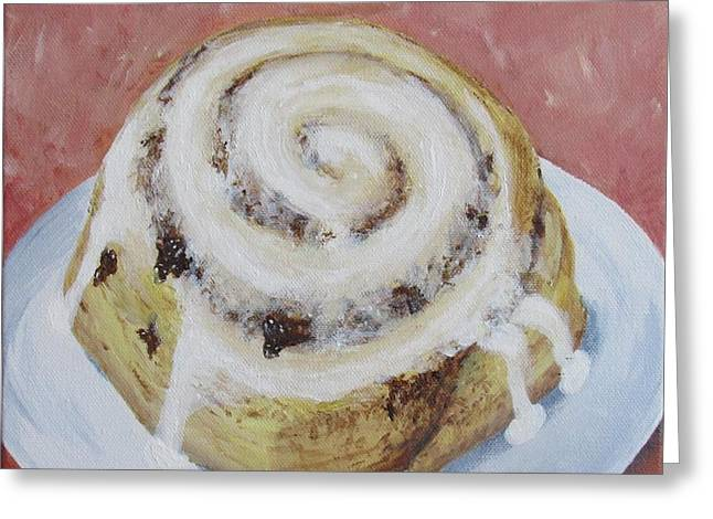 Greeting Card featuring the painting Cinnamon Roll by Nancy Nale