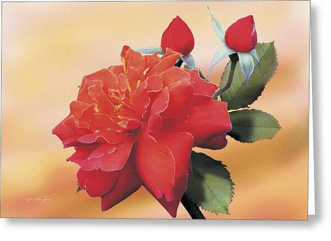 Cinnamon Roses Greeting Card by Jan Baughman