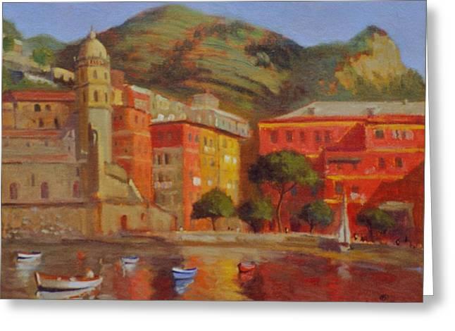 Cinqua Terra Italian Fishing Village Greeting Card by David Olander