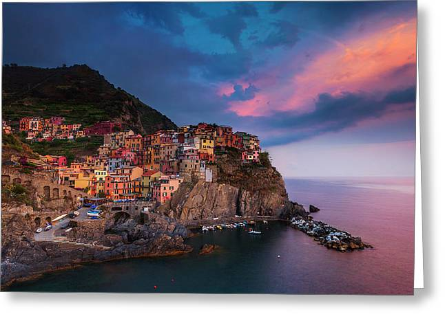 Cinque Terre At Dusk Greeting Card