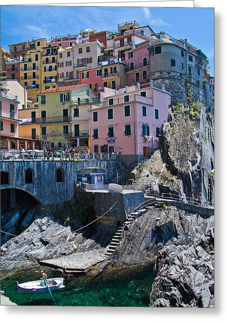 Cinque Terre Harbor And Town Greeting Card by Roger Mullenhour