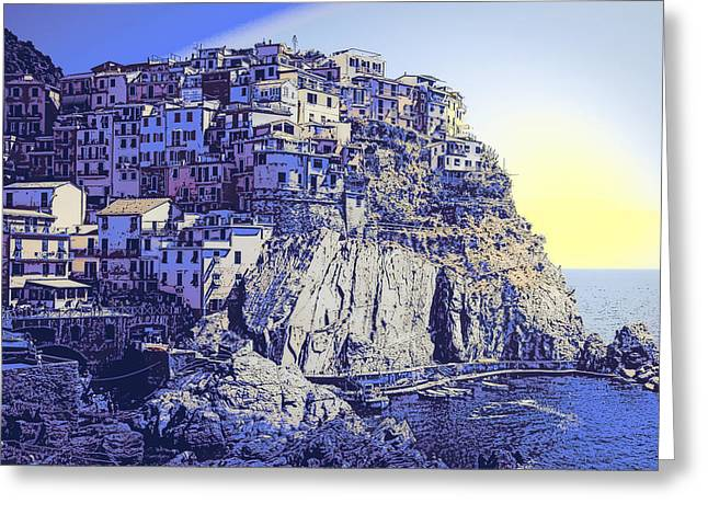 Cinque Terre Italy Blue Meditteranean Greeting Card by Daniel Hagerman