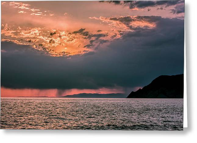 Cinque Terre Italy Sunset Greeting Card by Joan Carroll