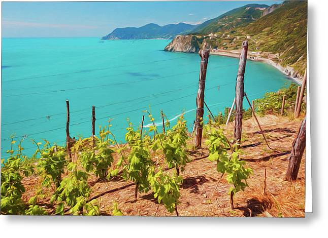 Cinque Terre Italy Vineyards Greeting Card by Joan Carroll