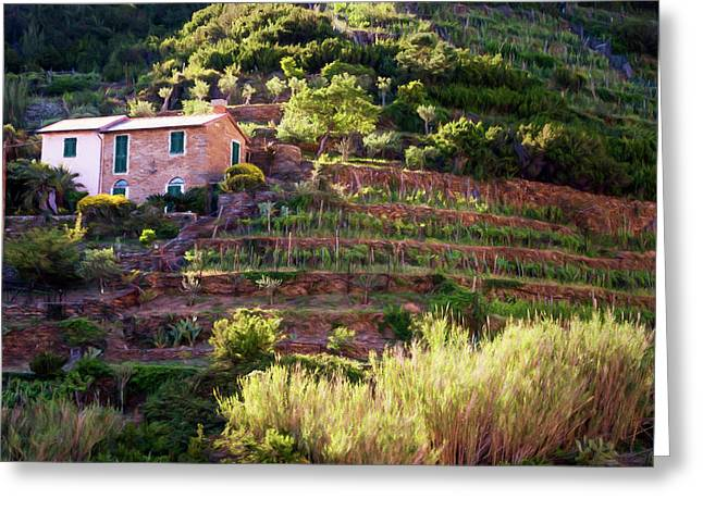 Cinque Terre Italy Vineyards Painterly Greeting Card