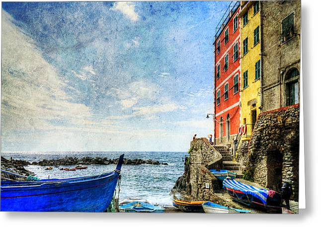 Cinque Terre - Little Port Of Riomaggiore - Vintage Version Greeting Card