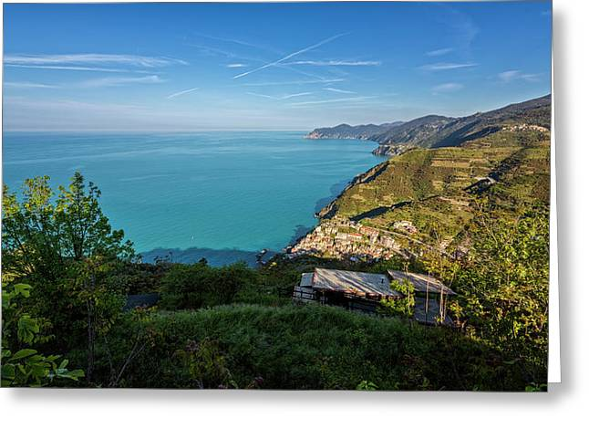 Cinque Terre Panorama Greeting Card by Joan Carroll