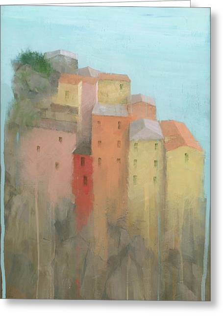 Greeting Card featuring the painting Cinque Terre by Steve Mitchell