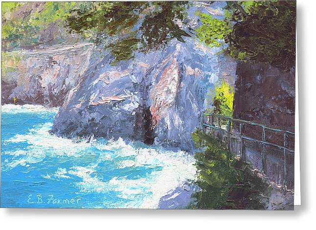 Spectacular Paintings Greeting Cards - Cinque Terre Trail Italy Greeting Card by Elaine Farmer